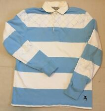 Ralph Lauren Rugby Polo Shirt Mens S Blue Striped Elbow Patch Skull Crossbones