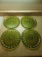 "4 Avocado Green Glass Scalloped? 10"" Serving Plate Fairland Pattern"