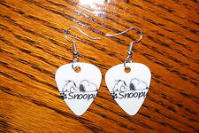 Guitar Pick Earrings - Silver Plate Snoopy 01