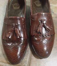 Florsheim mens Sz 8 D brown leather brogue kiltie tassel loafer shoe flexible