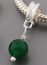 GREEN STONE S/P EUROPEAN  DANGLE CHARM BEAD 65