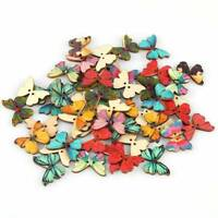 100X Lots Butterfly Shaped Wooden Button for DIY Sewing Scrapbooking Craft