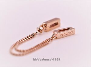 Authentic Pandora  Rose Gold Reflexions Floating Safety Chain  Charm 787601