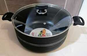 Casserole Stockpot Ceramic Coated Cooking Pan Pot Double Handles With Glass Lid