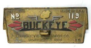 Antique Buckeye Cast Iron Egg Incubator Plaque Sign,  Springfield Ohio