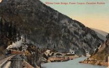 WHITES CREEK BRIDGE FRASER CANYON CANADIAN ROCKIES CANADA POSTCARD (c. 1910)