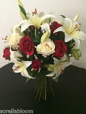 LARGE ROSE, LILY & HOP SPRAY GIFT WRAPPED HAND TIED ARTIFICIAL FLOWER BOUQUET