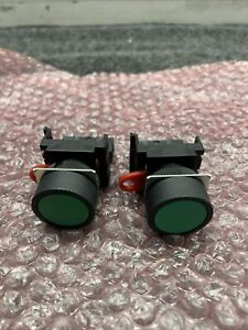 New Lot of 2 Omron A22-10 Switch Green Push Button