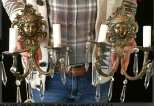 TWO VINTAGE CAST BRONZE WALL SCONCES with PRISMS. WELL - CAST WITH DIGITAL MASKS