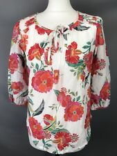 M&S Size 8 Ivory Cotton Silk Blend Floral Top Red Orange Pink 3/4 Sleeves
