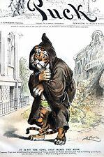 Tammany Tiger 1889 GREEDY MONK in GARMENTS of VIRTUE -  TO VICTOR BELONGS SPOILS