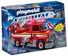 PLAYMOBIL 5980 CITY ACTION FIRE RESCUE LADDER TRUCK SET   NEW
