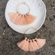 Anthropologie Light Peach Tassel Fringe Gold Plated Hoop Summer Boho Earrings