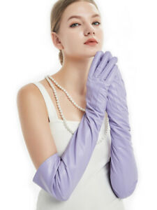 """women 60cm(23.6"""") long back three lines style real leather gloves violet"""