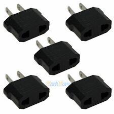 5 x Black EU Euro Europe to US USA Power Jack Wall Plug Converter Travel Adapter