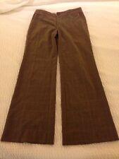 REBECCA TAYLOR Brown Plaid Pants Pink Piping Sz 4 31 inseam
