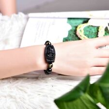 Handcrafted Obsidian Buddha Bracelet