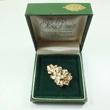 Vintage Danish 925 Silver & Gold Botanical Leaf Brooch Flora Danica Original Box