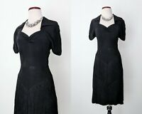 Vintage 40s Fringed Black Wiggle Dress, 1940s Black Rayon Evening Gown
