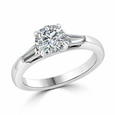 Plated Engagement Ring In 925 Ss Solitaire White Round Moissanite 3.10Ct White