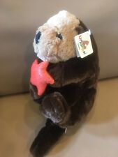 "New 2014 Unipak Sea Otter & Orange Coral Starfish Plush Stuffed Animal 14"""