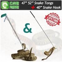 "47""52"" Stainless Steel Snake Tongs Grabber Catcher+Reptile Herp Hook Handle Tool"