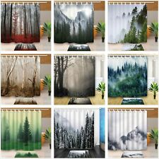 Fog Forest Mountain Nature Bathroom Waterproof Fabric Shower Curtain & 12 Hooks