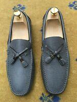 Louis Vuitton Mens Shoes Grey Leather Loafers Drivers UK 7 US 8 EU 41 Tassel