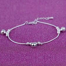 Women Fashion 925 Sterling Silver Beads Snake Chain Ankle Wrist Bangle Bracelet