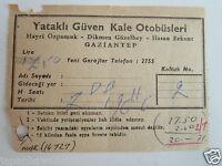 Bus Berth Ticket Gaziantep Turkey 1966 Yataklı Güven Kale Otobüsleri