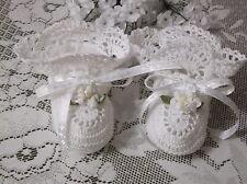 Handmade Hand Crocheted Baby  Booties - White w/White Ribbons & Flowers