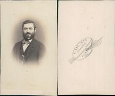 Lecomte, Bourg, Homme brun barbu au noeud papillon original, circa 1865 Vintage