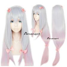 Eromanga Sensei Izumi Sagiri Cosplay Wig Silver Mix Pink Long Straight Full Wigs