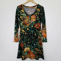 Leona Edmiston Ruby Women's Dress Long Sleeve Tropical Floral Print Size 1