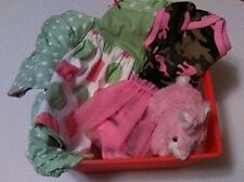Gift Basket Girl Baby Newborn includes Two dresses and a Stuff Bunny