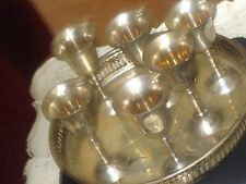 Lovely Antique Silver Plated Tray with six small cordial goblet on Gallery Tray