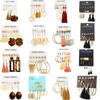 Chic 20 Styles Earrings Set Long Tassel Crystal 6Pair Ear Stud Dangle Women