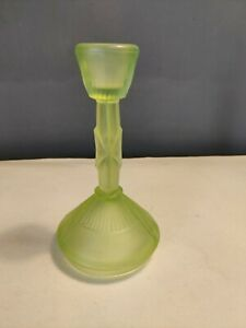 VTG Retro Green Pressed Glass Candlestick Candle Holder 16cm Boho Decor