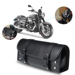 Waterproof Black Motorcycle PU Leather Tool Bag Luggage Saddlebag Roll Barrel UK