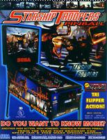 STARSHIP TROOPERS Original 1997 NOS Pinball Machine Flyer Space Age Artwork SEGA
