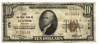 1929 $10 National Currency Note 170 St. Louis Missouri - First Bank - AX781
