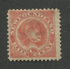 1888 Newfoundland Stamp #57 1/2 Cent Mint Hinged F/VF Disturbed Original Gum