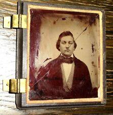 1850s Ambrotype ANTIQUE Gentleman PORTRAIT Union Case PHOTOGRAPH Gutta Percha