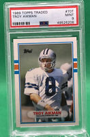 1989 TOPPS TRADED Troy Aikman #70T RC Rookie 🏦 PSA 9 🏦 HOF Cowboys