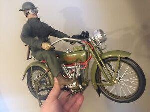 "WWI DISPATCH RIDER 1917 Harley Davidson MOTORCYCLE SIDESHOW 12"" FIGURE DID 1/6"