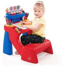 Toddler Desk w Seat & Storage Shelf Integrated Kids Craft Coloring Red Blue New