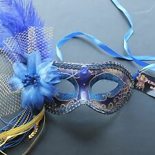 Blue Venetian Ostrich Feather Masquerade Mask 4B3A for Party & Display