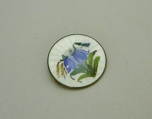 NORWAY OPRO VINTAGE guilloche Sterling Colorful Handpainted Floral Pin 154-U