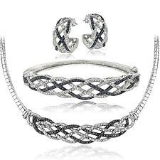 3/4 Ct Black & White Diamond Weave Necklace Bracelet Earrings Set in Brass