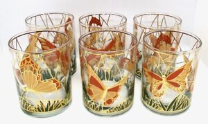 6 RARE Vintage Mid Century Culver Ltd.  Butterfly Old Fashioned Glasses 22K Gold